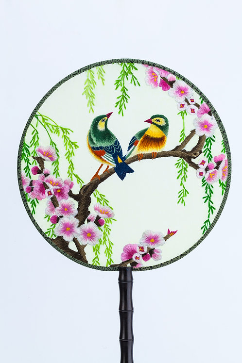 Chinese Traditional Embroidered Hand Fan 'Soulmate 伴侣'