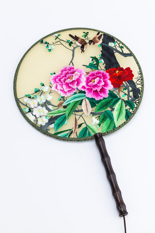 Pink Peony and magpie Hand Fan