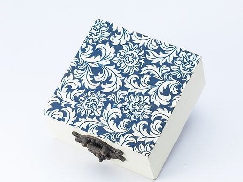 Small Laser Engraved Decorative Wooden Box with blue and white pattern detail