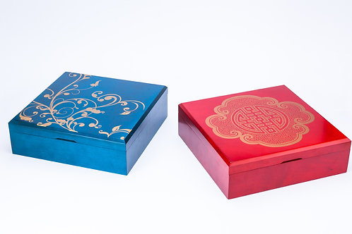 Wooden boxes carved by laser