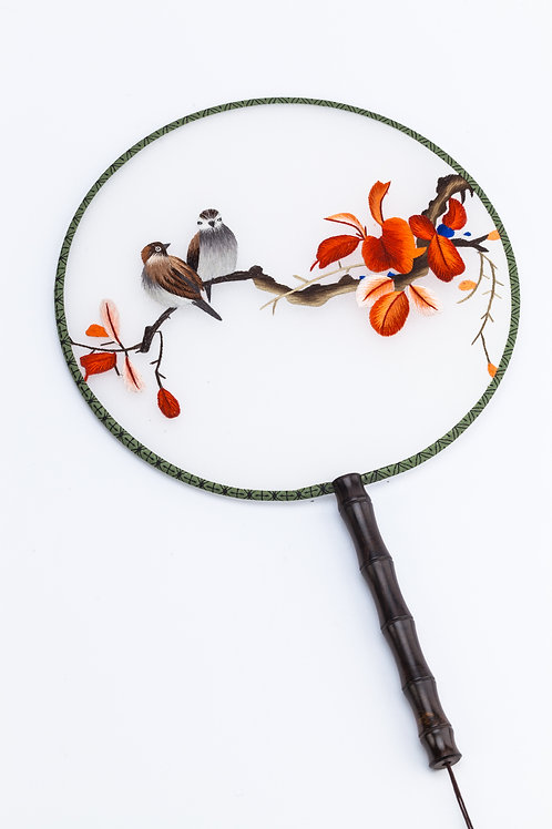 Bird and Red Flower Hand Fan