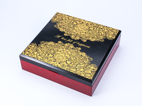Small Black Laser Engraved Decorative Wooden Box with gold detail
