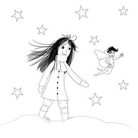 Megan and Fairy in the snow colouring sh