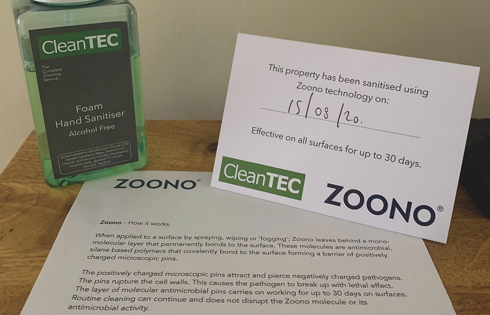 CleanTEC Holiday Home Industry Zoono Card
