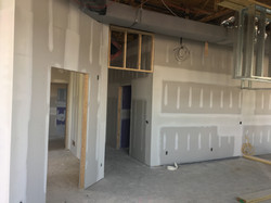 Drywall going up at PMAH in Acton MA