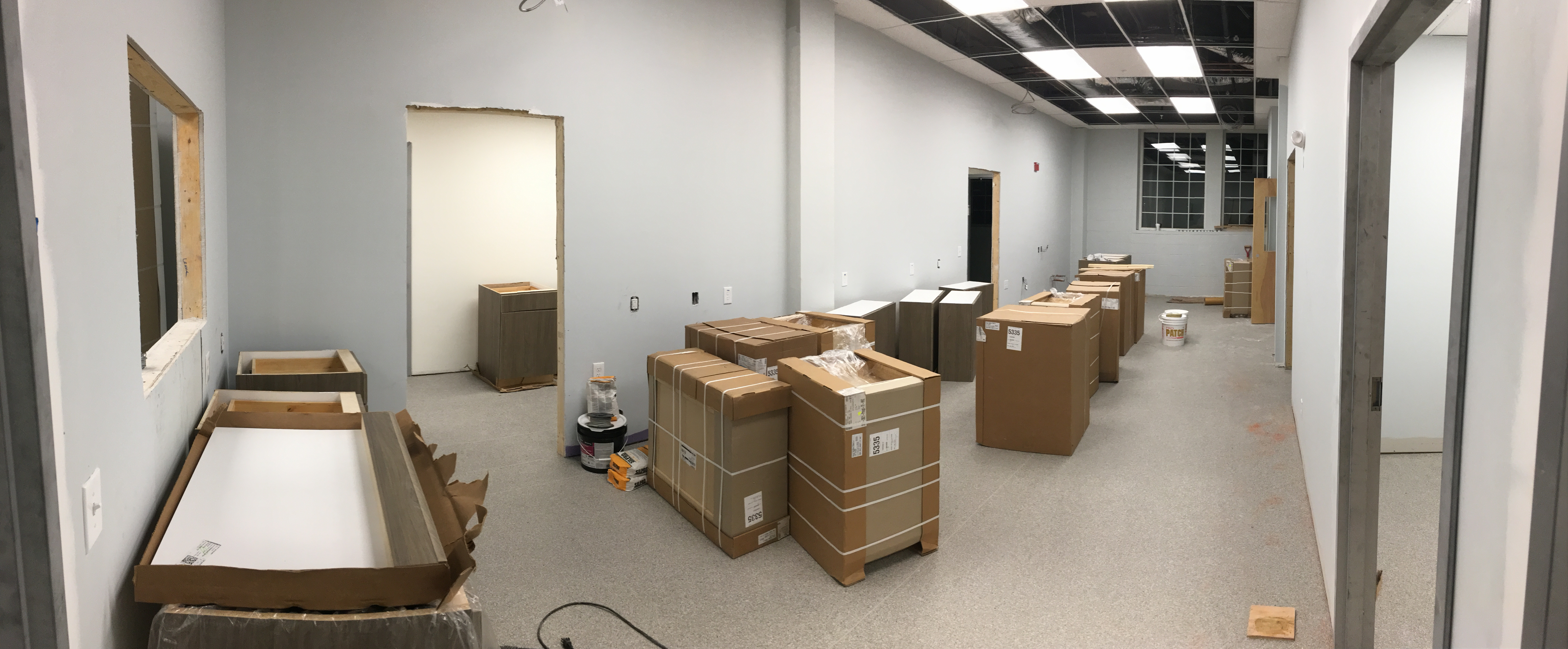 Cabinets are about to go in PMAH Vet in Acton MA