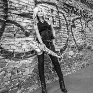 Mindi Abair on the Graffiti Wall B and W