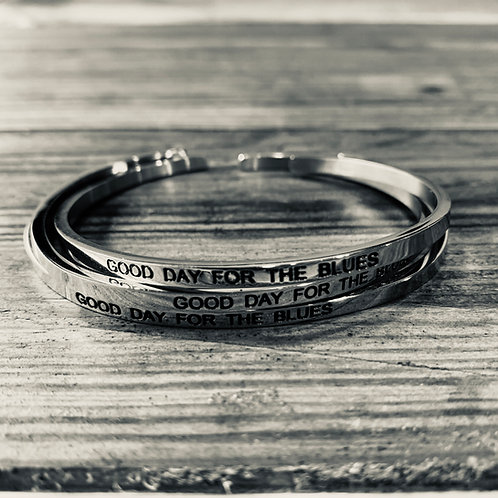 Good Day For The Blues Sterling Silver Engraved Bracelet