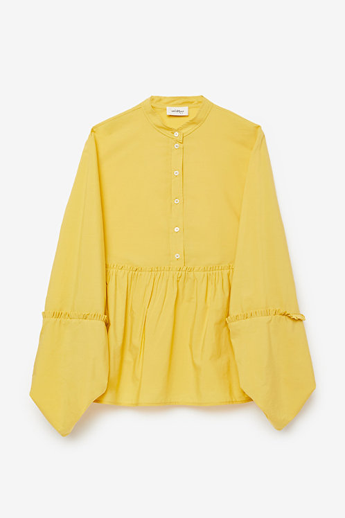 Ottod'Ame Flared Cotton Shirt with Ruffle Sleeves
