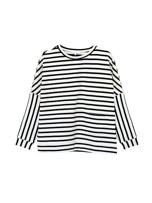 Intropia Striped and Oversized Cotton Sweatshirt