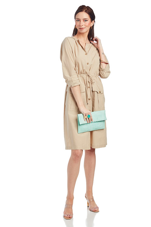 Ottod'Ame Poplin Midi Dress with Maxi Pockets