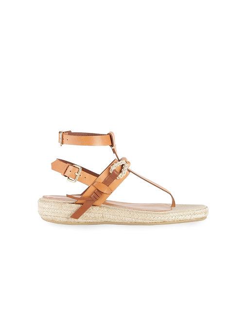 Intropia Espadrille Wedge Leather Sandal