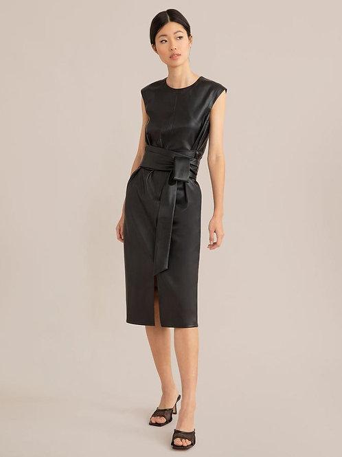 Modern Citizen Pilar Faux Leather Tie-Front Dress
