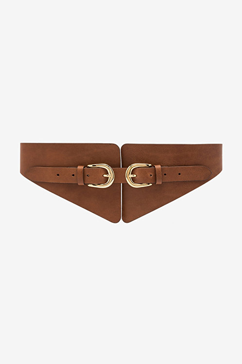 Ottod'Ame High Leather Belt with Double Buckle