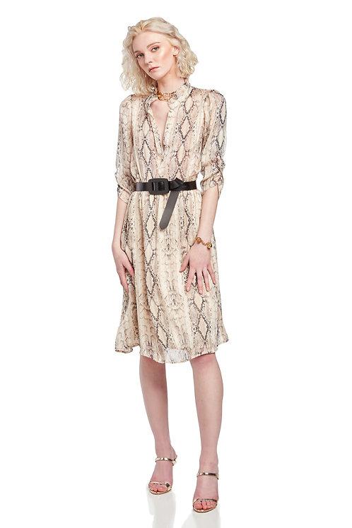 SUNCOO Snake Print Dress