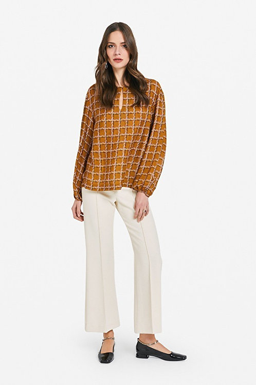 Ottod'ame Ponte Knit Cropped Flare Trousers
