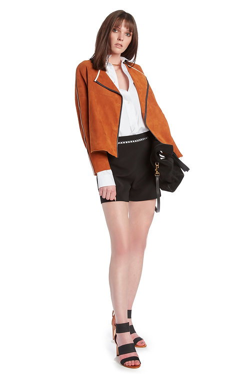 LIVEN Short Jacket with Contrasting Trim