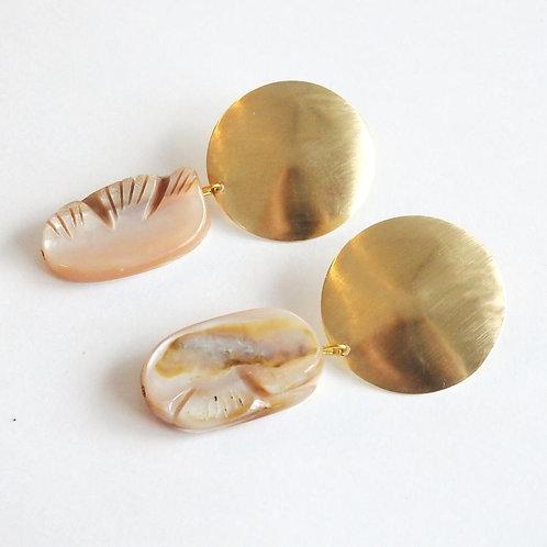 Metrix Jewelry Mother of Pearl Shell & Brass Domed Stud Earrings