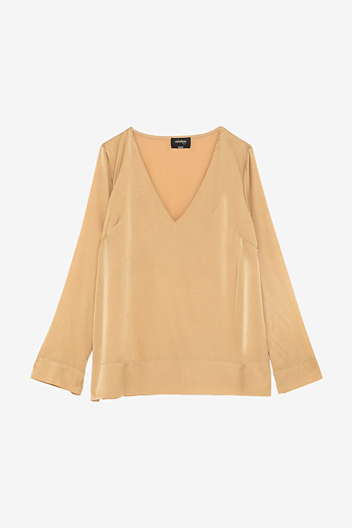 ottod'Ame Long Sleeve T-shirt in Silk Satin
