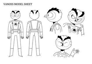 Vanoss model sheet  For our VanossGaming series we designed an animated version of the titular character. These designs are still in use!