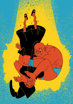 Red VS Wizard  Red one of the titular Pegbarians piledriving a wizard