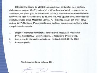 Veteran convoca associados para Assembleia Geral Ordinária 22/07/2021