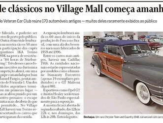 O Globo noticia nosso grande evento Village Classic Cars 2019