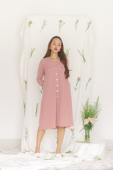 V Neckline Buttons Dress Pink