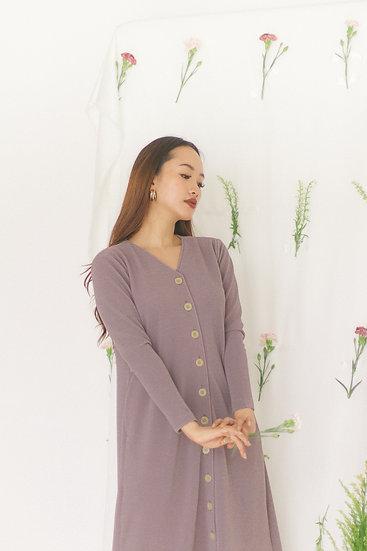 V Neckline Buttons Dress Lilac