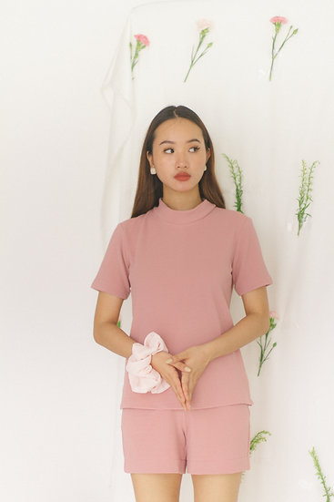 High Collar Basic Blouse Pink