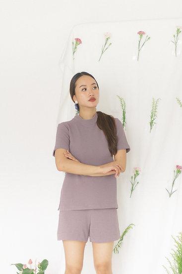 High Collar Basic Blouse Lilac