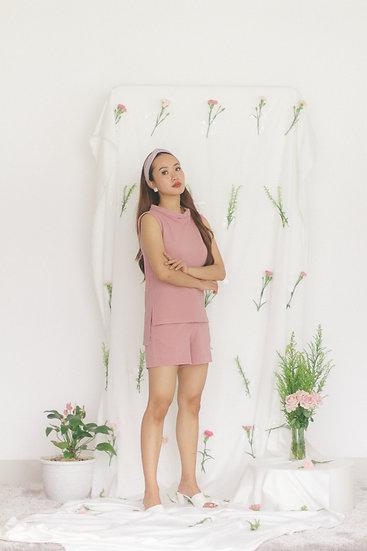 High Collar Sleevless Blouse Pink