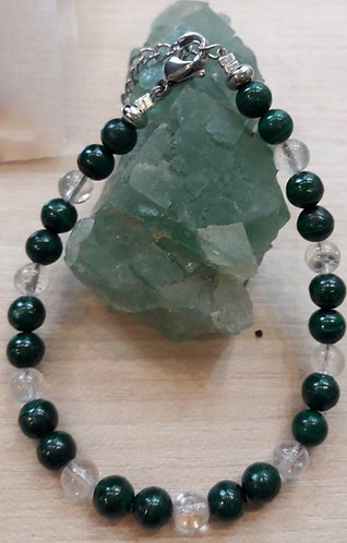 Bracelet Malachite/cristal de roche