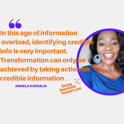 Parenting Teenagers Successfully = Taking Action On Correct & Credible Information = Transformation.