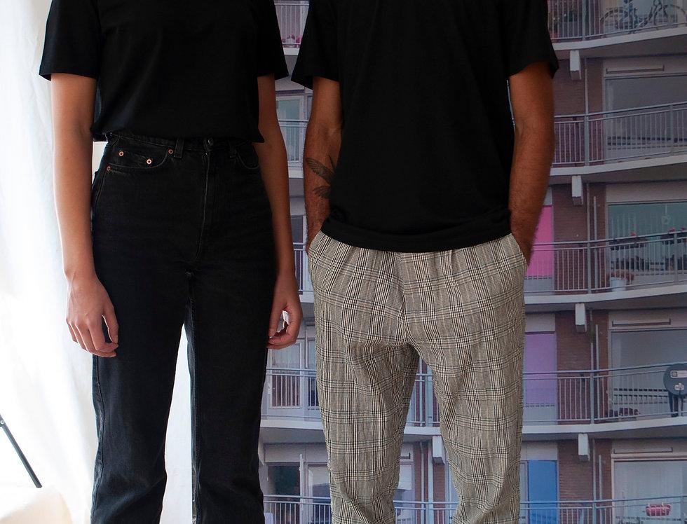Unisex omarmt print T-shirt Zwart/Blauw
