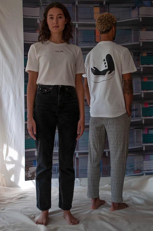 Unisex omarmt print T-shirt Gebroken wit/Zwart