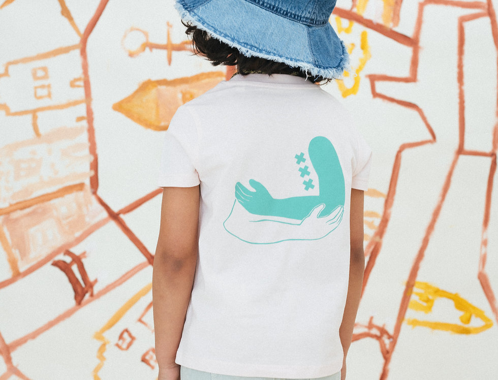 Unisex omarmt print T-shirt Kinderen Candy pink/Rood/Aqua