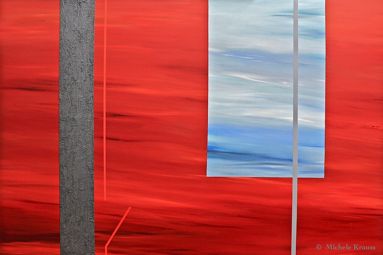 """Hot Red Window, 48""""x72""""in, Oil & Sand on"""