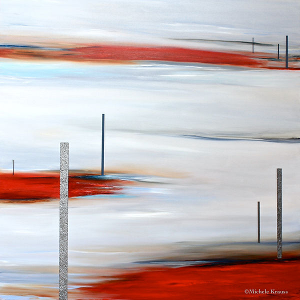 Red on Red, Michele Krauss, Oil & Sand