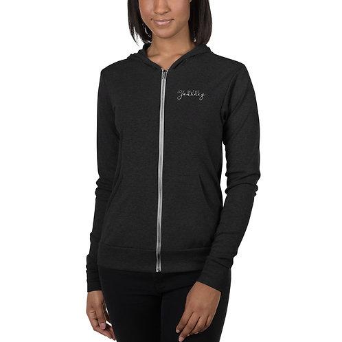 Unisex Zip Bella Canvas Light-Weight White Logo Hoodie