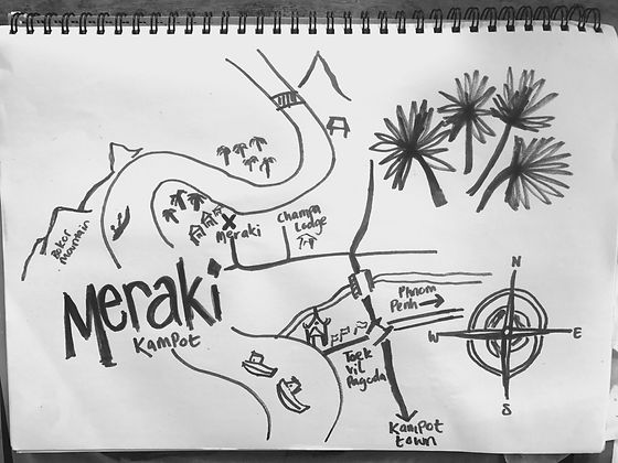 Meraki Kampot hand drawn accommodation map, excellent bungalows in Kampot