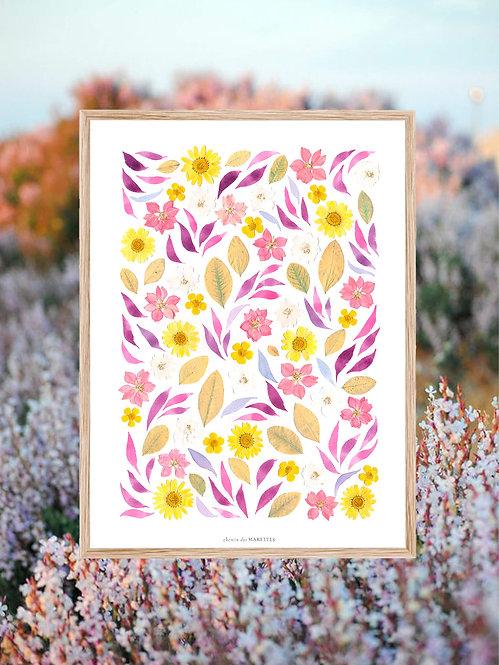 herbier de fleurs séchées jaune et lilas