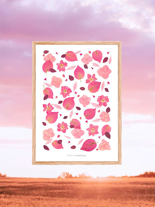 cadre herbier rose chambre d'enfant hortensia