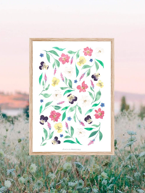herbier vert fleurs pressées et aquarelle