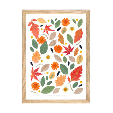 herbier-tangerine-cadre-bois