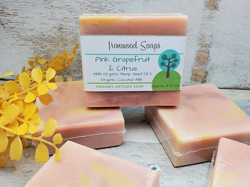 Pink Grapefruit & Citrus Organic Artisan Soap - Hemp Oil