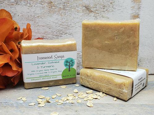 Lavender Oatmeal & Turmeric - Rustic - Organic Artisan Soap - Hemp Oil