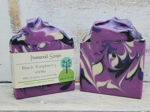 Black Raspberry Vanilla Organic Artisan Soap - Coconut Milk - Shea Butter