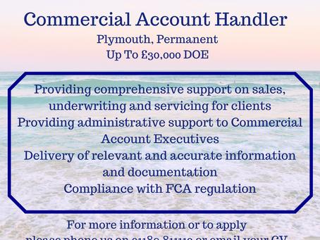 NEW JOB ROLE- Commercial Account Handler