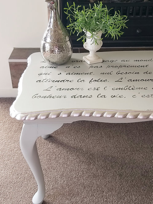 Grey & silver Queen Anne coffee table